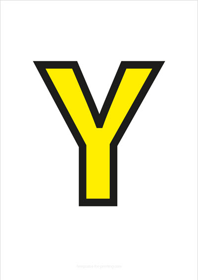 Y Capital Letter Yellow with black contours