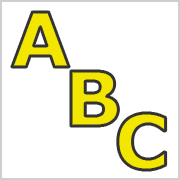 Yellow Capital letters with black contours