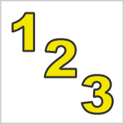 Yellow numbers with black contours