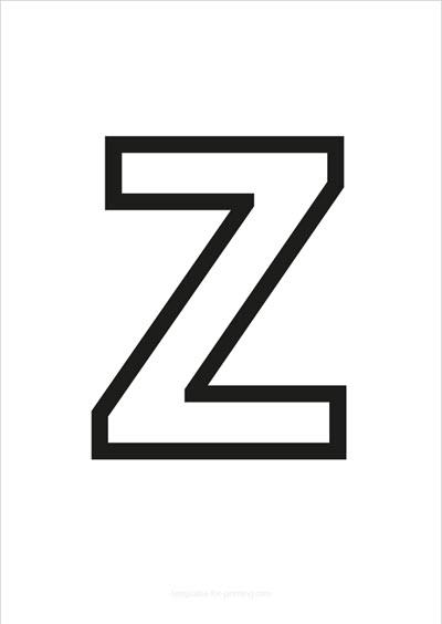 Z Capital Letter Black only contours