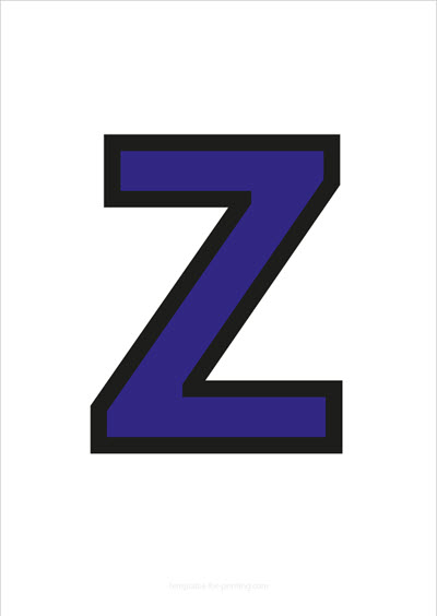 Z Capital Letter Blue with black contours