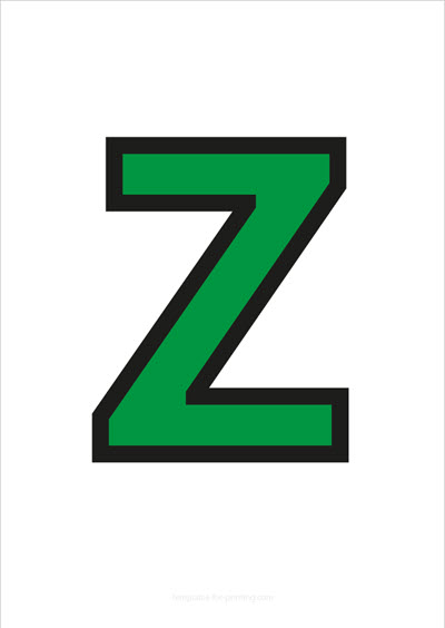 Z Capital Letter Green with black contours