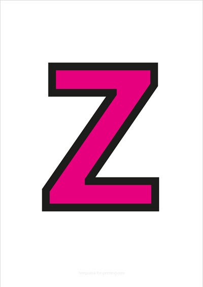 Z Capital Letter Pink with black contours