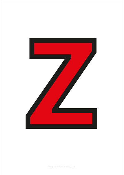 Z Capital Letter Red with black contours
