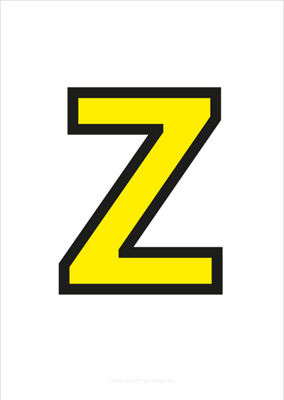 Z Capital Letter Yellow with black contours